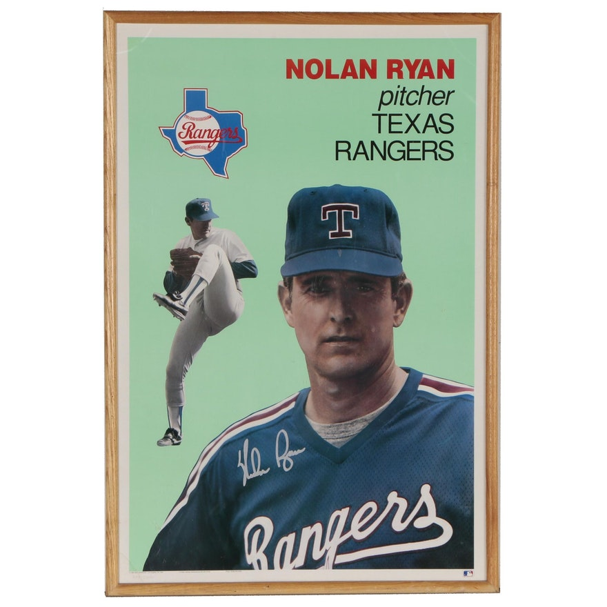 1990 Nolan Ryan Texas Rangers Signed Limited Edition Framed Baseball Poster