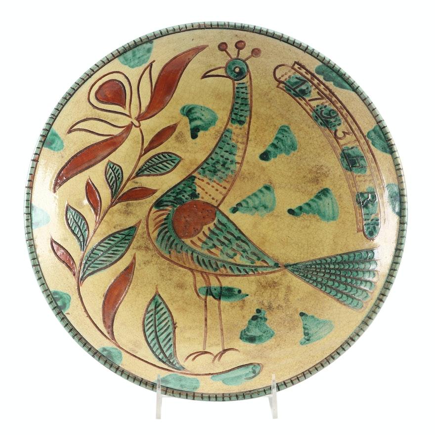 Metropolitan Museum Slipware Peacock and Vines Wall Plate