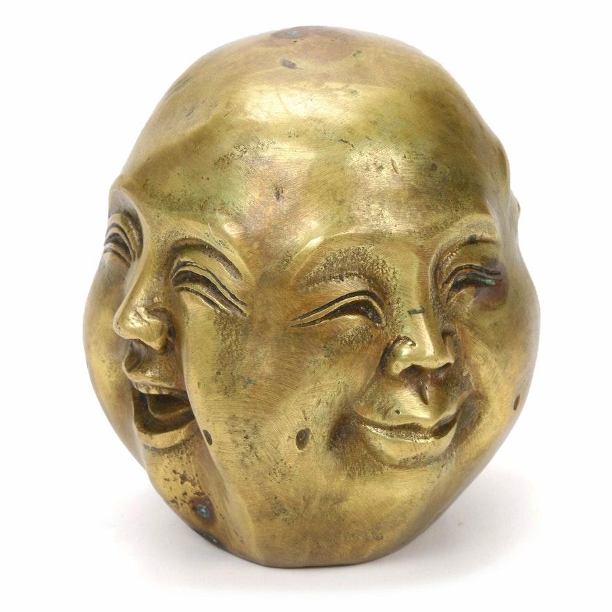 Chinese Brass Four-Faced Buddha Head