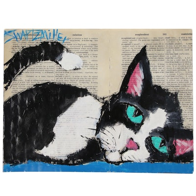 "Michael Swartzmiller Mixed Media Painting ""Napping Cat"""