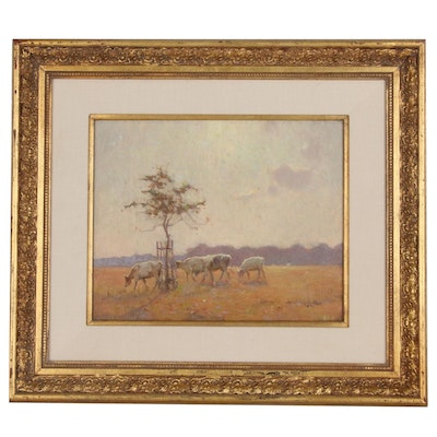 Fred Hall Pastoral Impressionist Oil Painting, Early 20th Century