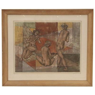 "Hans Erni Figural Lithograph ""3 Akte"""