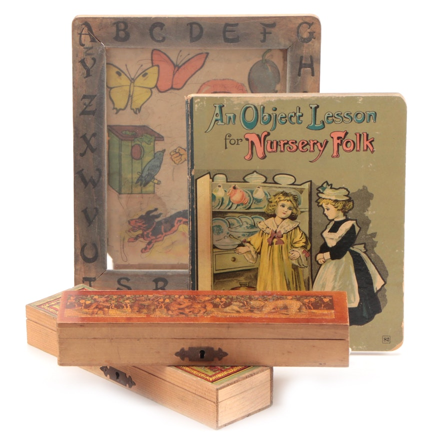 """""""An Object Lesson for Nursery Folk"""" with Pencil Boxes and Frame, Antique"""