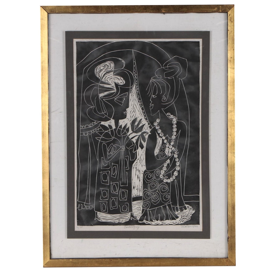 """Evelyn Marx Woodcut Print """"Colloquy"""", 1960"""