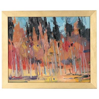 "Jose Trujillo Landscape Oil Painting ""Autumn Leaves"""