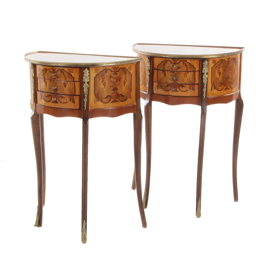 Louis XV Style Marquetry Decorated Demilune Side Tables, 20th Century