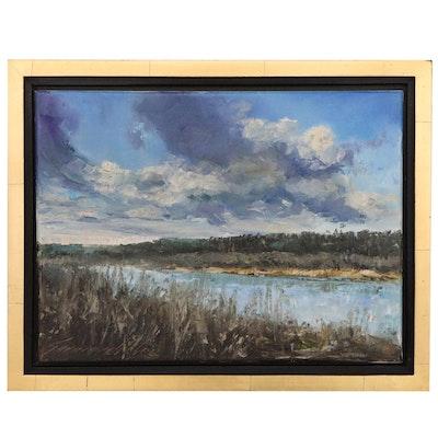 "Garncarek Aleksander Landscape Oil Painting ""Przedwiosnie"", 2020"