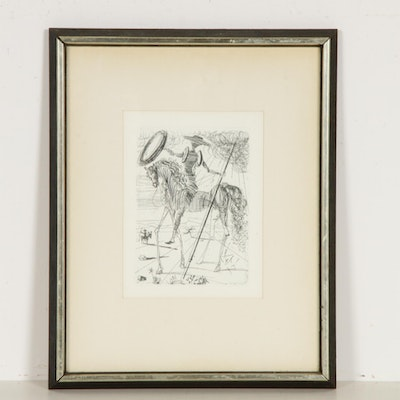 "Salvador Dali Restrike Etching ""Don Quixote"", Late 20th Century"