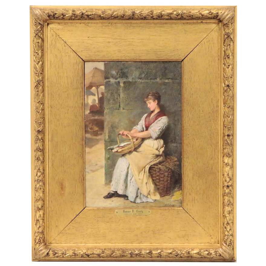 Horace Henry Cauty Genre Oil Painting of Woman with Basket, Late 19th Century