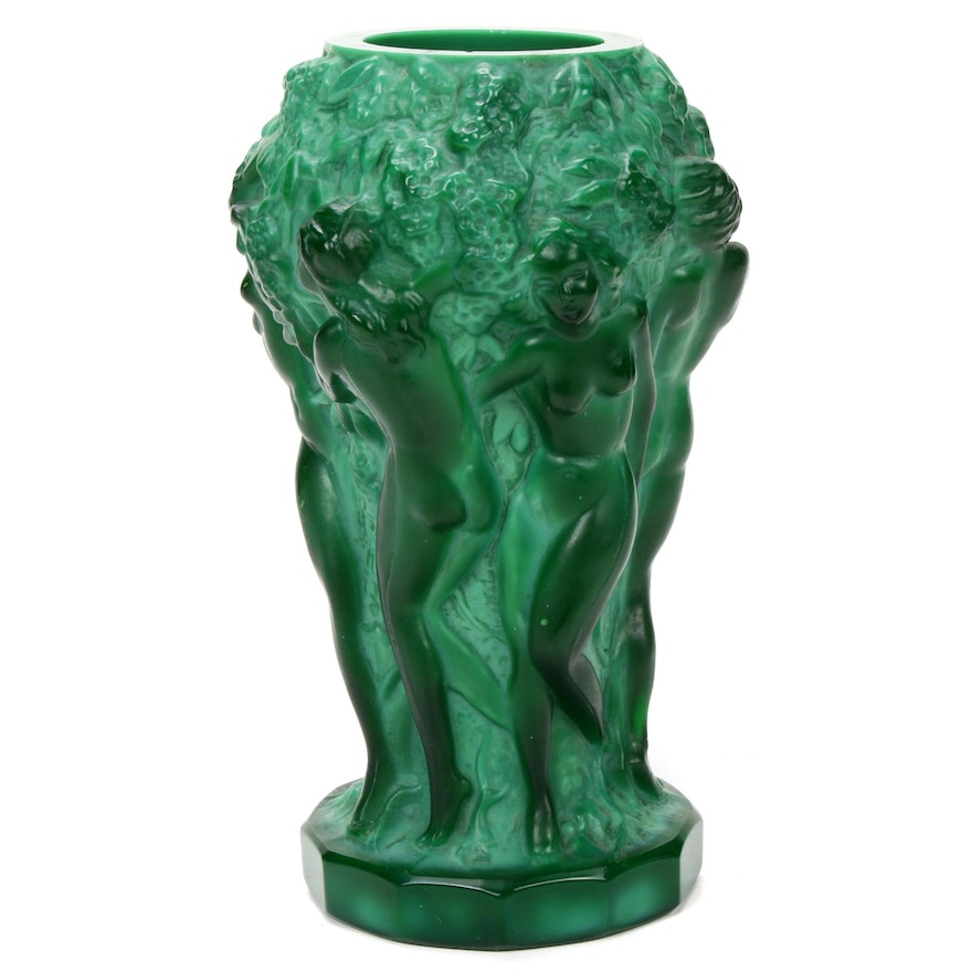 Desná Czech Art Nouveau Malachite Glass Bud Vase from Heinrich Hoffmann Mold