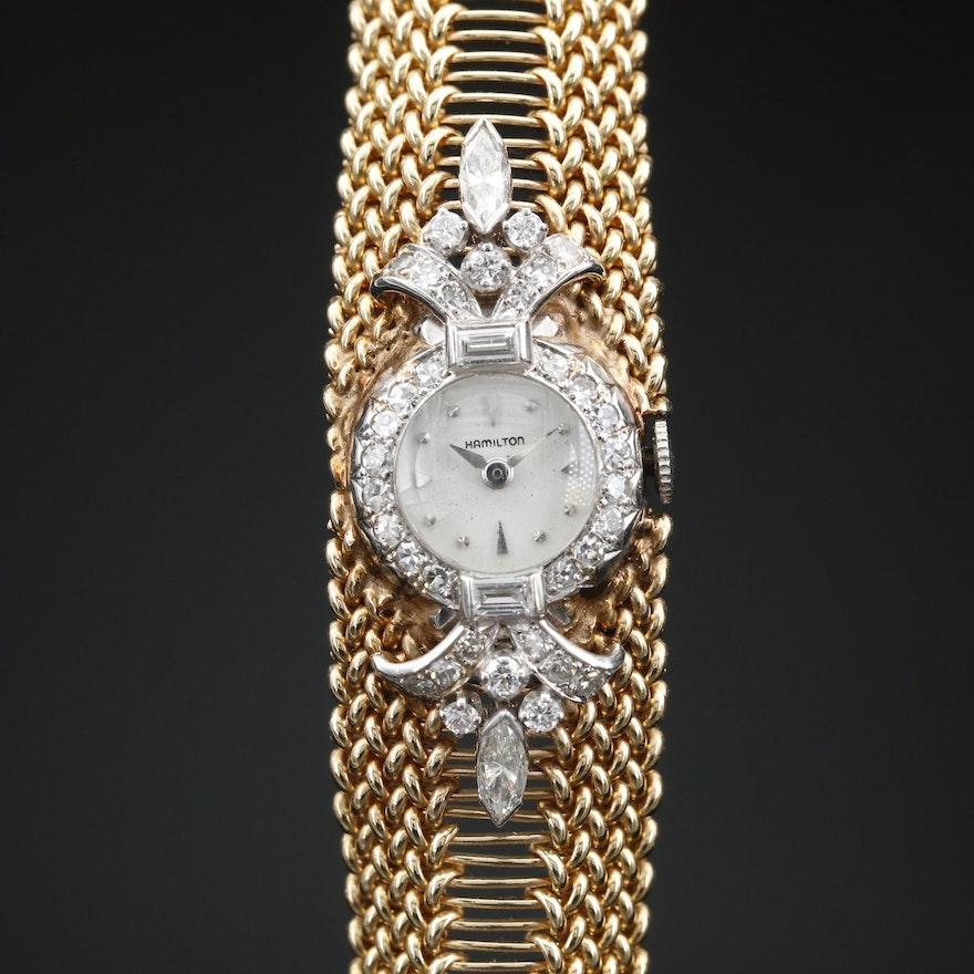 Hamilton Platinum and 1.54 CTW Diamond Watch With Custom 14K Bracelet