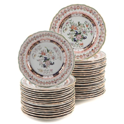 Mason's Chinoiserie Hand-Colored Transferware Ironstone Dinner and Salad Plates