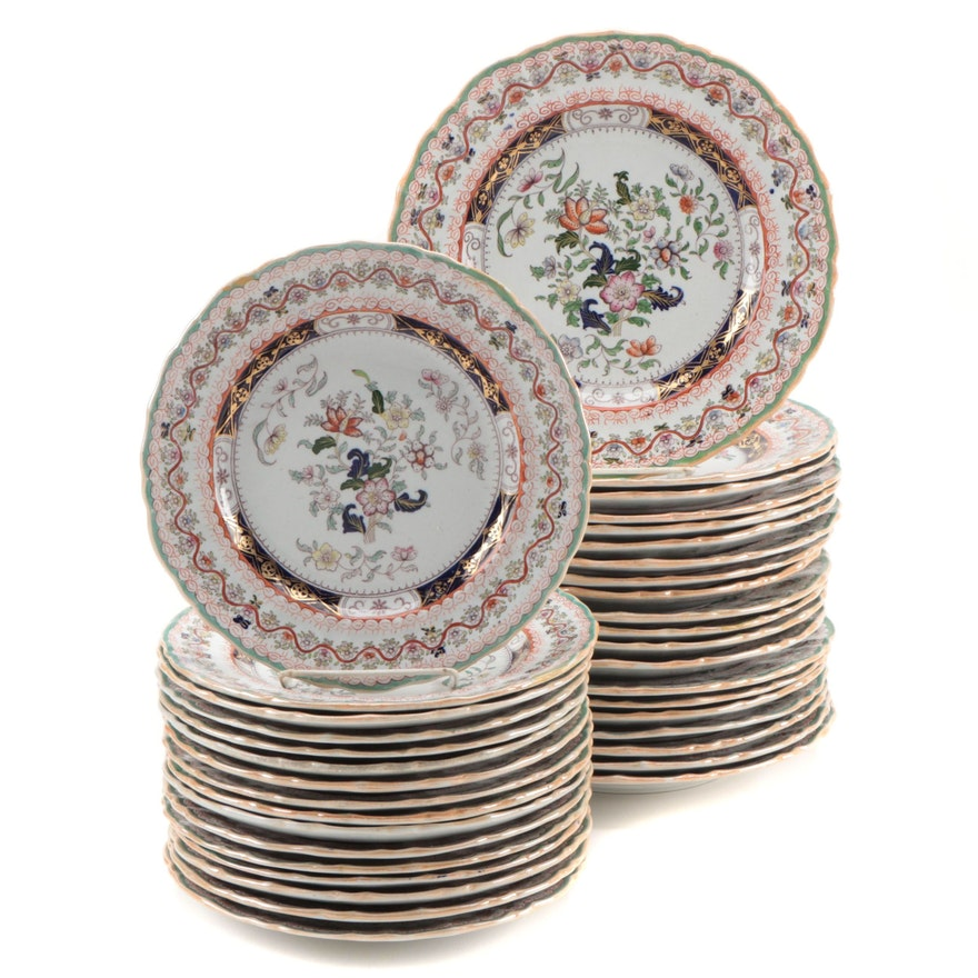 Mason's Chinoiserie Hand-Colored Transferware Ironstone Dinner and Salad Plates