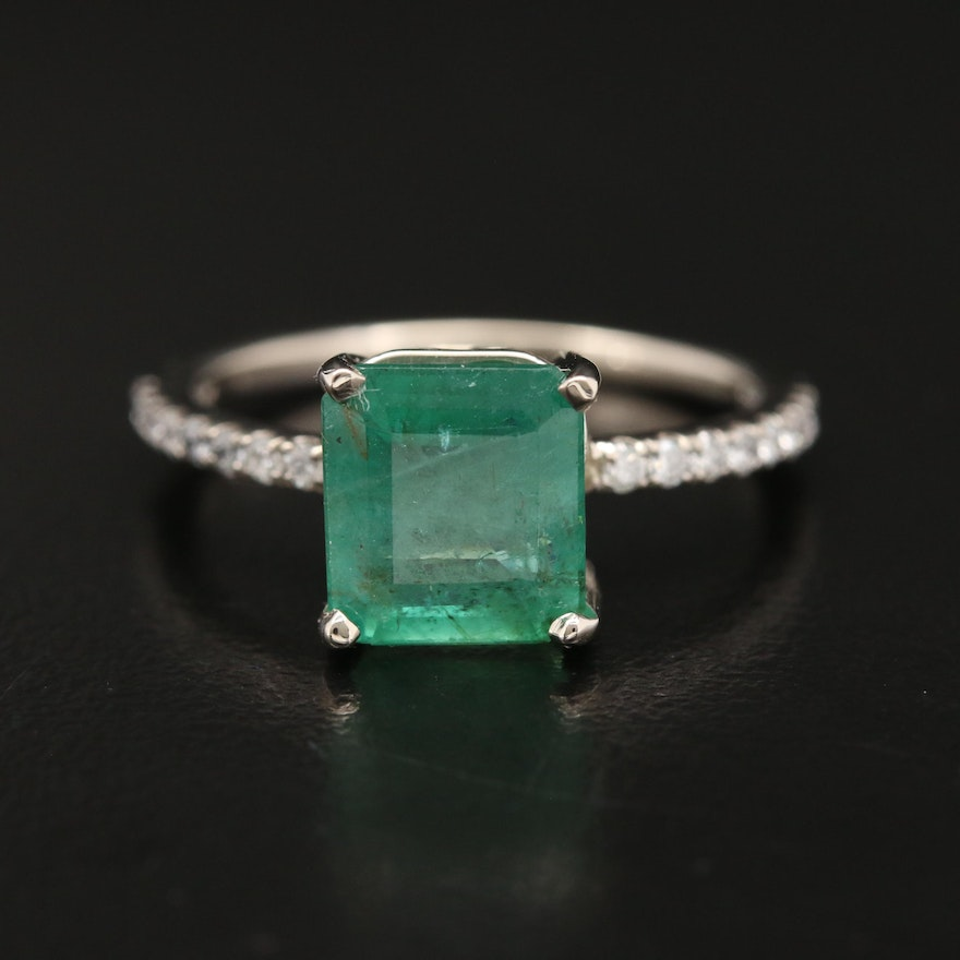 14K 2.80 CT Emerald and Diamond Ring with GIA Report