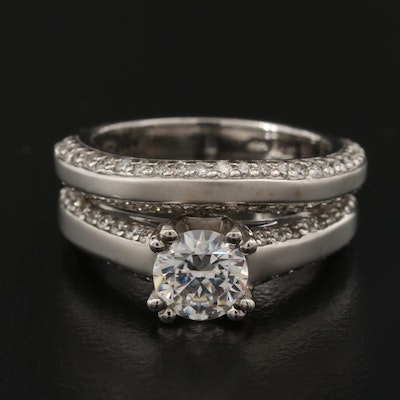 14K 1.00 CTW Diamond Semi-Mount Ring Set with Cubic Zirconia Center