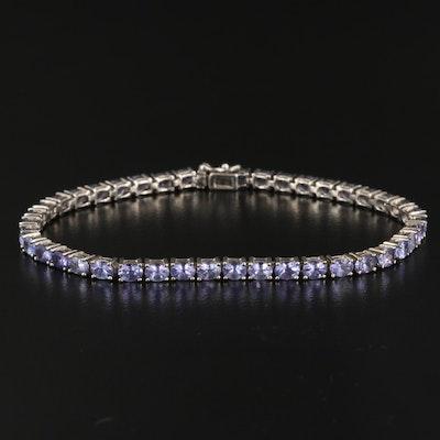 Sterling Silver Tanzanite Line Bracelet