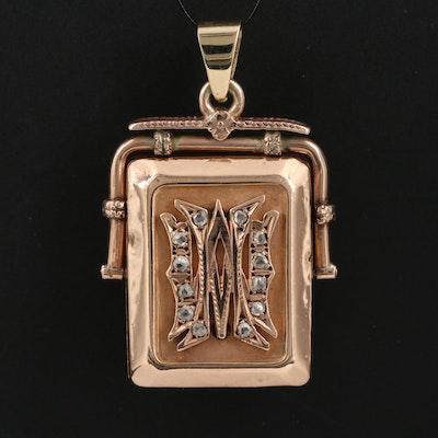 Victorian 10K Diamond Spinning Locket Pendant with 14K Bail