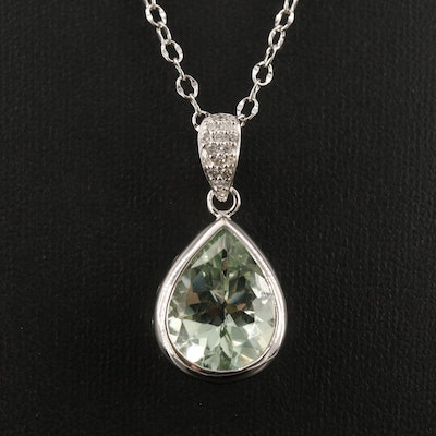 Sterling Silver Prasiolite and Diamond Necklace