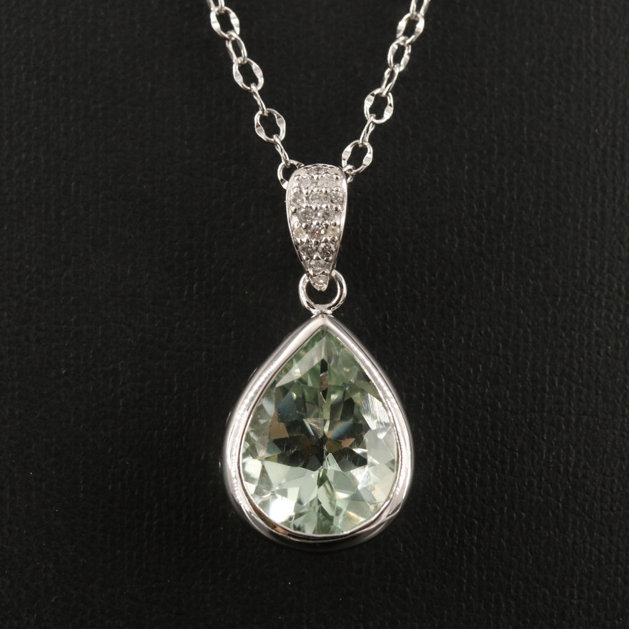 Sterling Silver Prasiolite and Diamond Necklace
