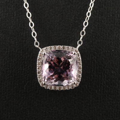 Sterling Silver Amethyst and White Topaz Halo Pendant Necklace