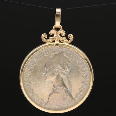 14K Pendant with 500-Lire Italian Silver Coin