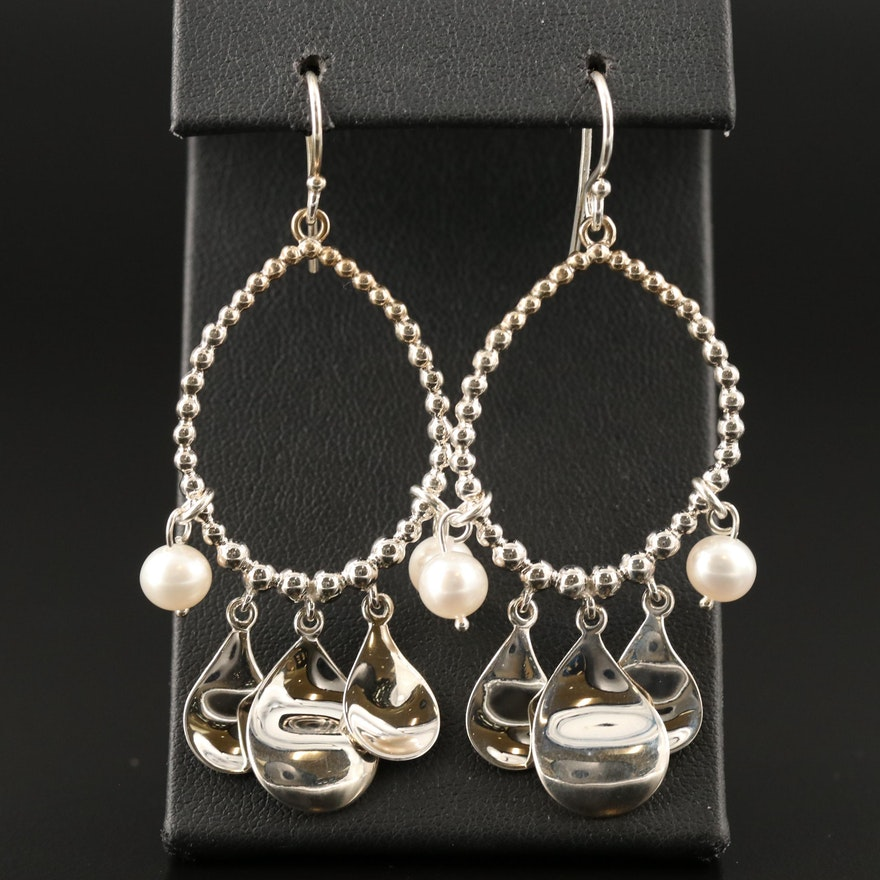 Michael Dawkins Sterling Pearl Dangle Earrings