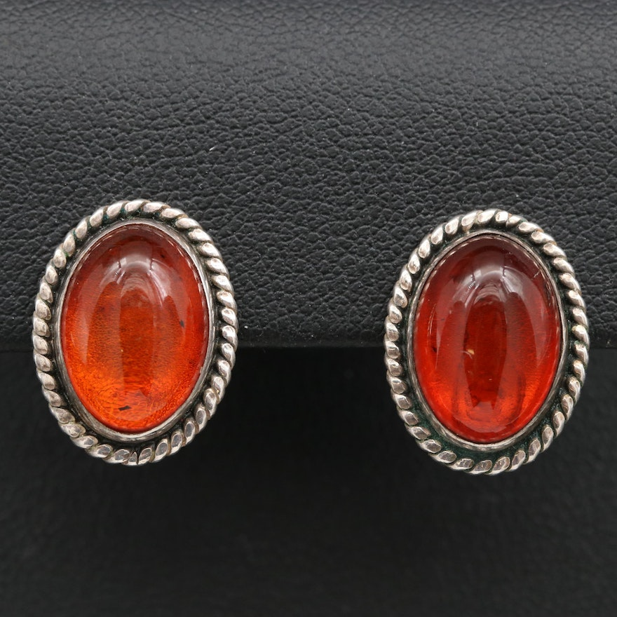 Sterling Amber Clip Earrings