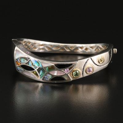 Bagley & Hotchkiss 950 Silver, Sapphire, Black Onyx and Abalone Hinged Bangle
