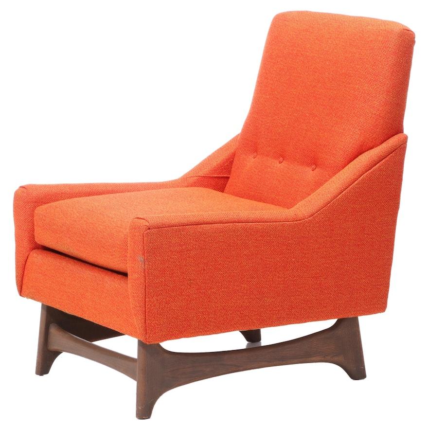 Schweiger Industries Mid Century Modern Upholstered Walnut Lounge Chair
