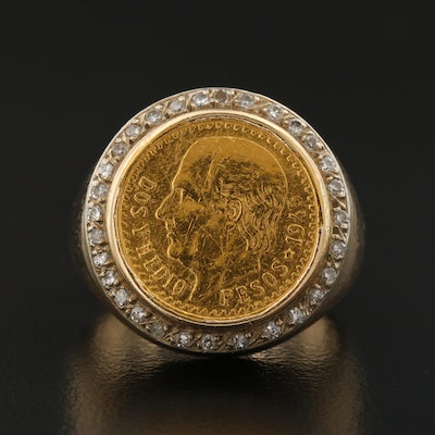 14K Ring Featuring 22K Mexican Coin Center and Diamond Border