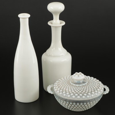 Hobnail Candy Bowl with Milk Glass Decanter and Bottle, Mid-20th Century