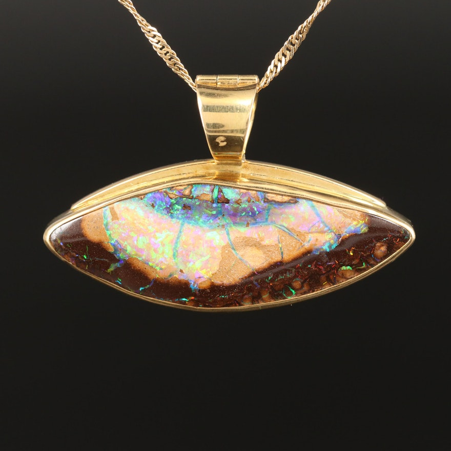 18K Boulder Opal East to West Navette Enhancer Pendant with 14K Singapore Chain