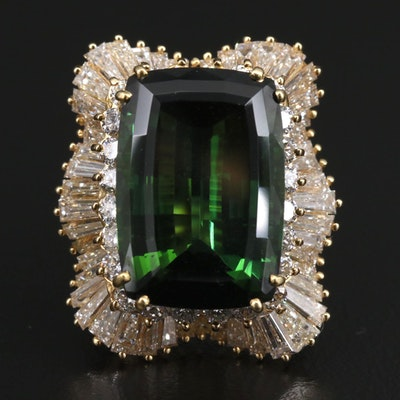 18K 18.09 CT Tourmaline and 5.01 CTW Diamond Ballerina Ring