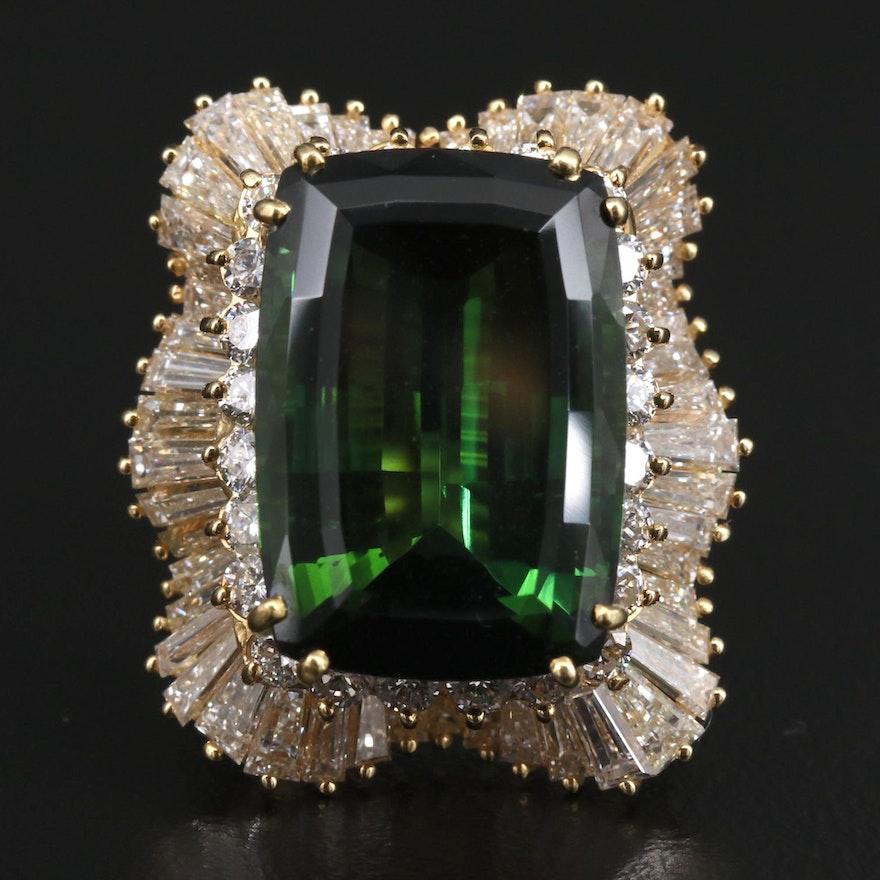 18K 18.09 CT Tourmaline and 5.01 CTW Diamond Ballerina Ring