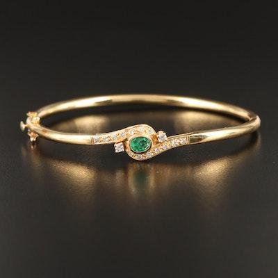 18K Emerald and Diamond Oval Hinged Bangle