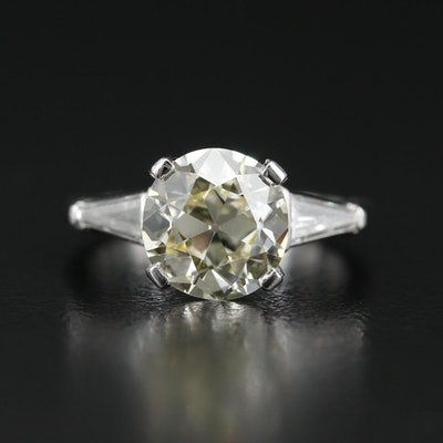 Platinum 3.62 CTW Diamond Cathedral Ring with GIA Report