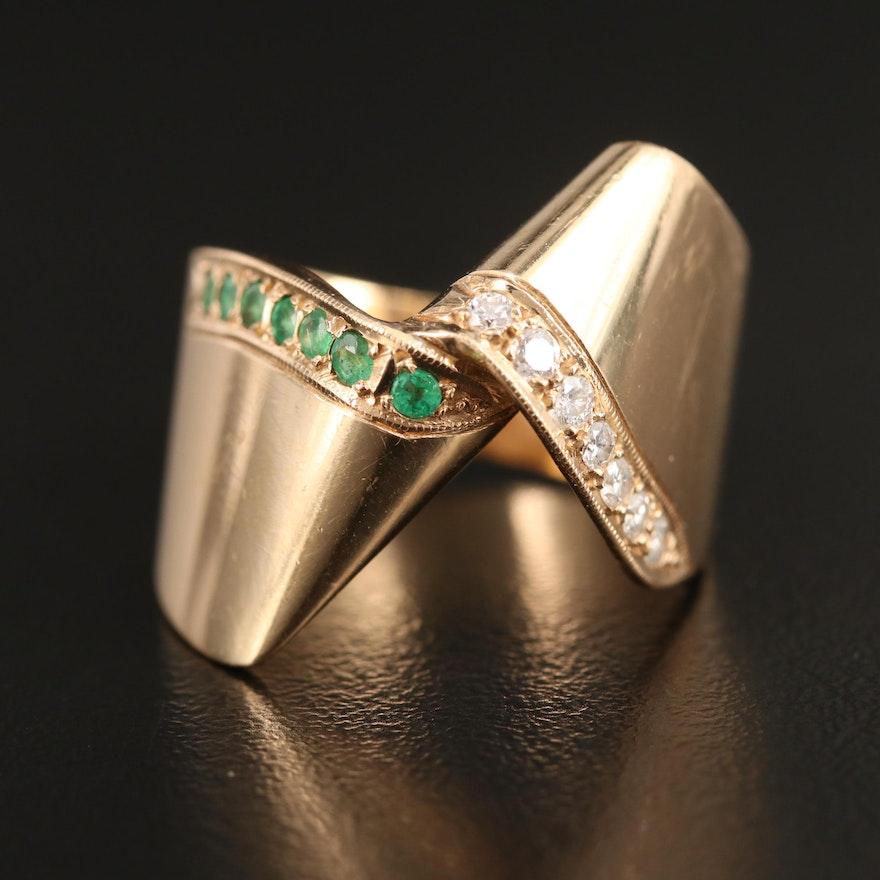 14K Emerald and Diamond Twist Motif Ring