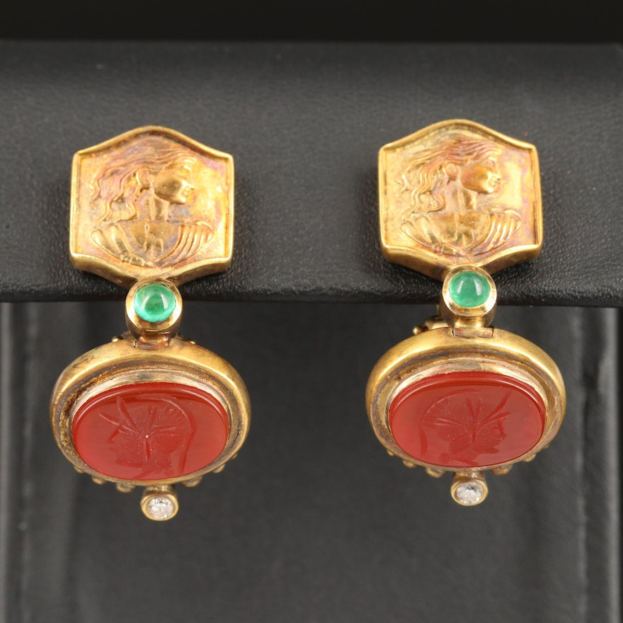 14K Repoussé Figural and Intaglio Carnelian, Emerald and Diamond Earrings