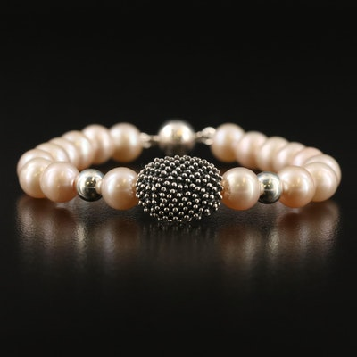 Michael Dawkins Pearl Bracelet with Sterling Accents and Magnetic Clasp