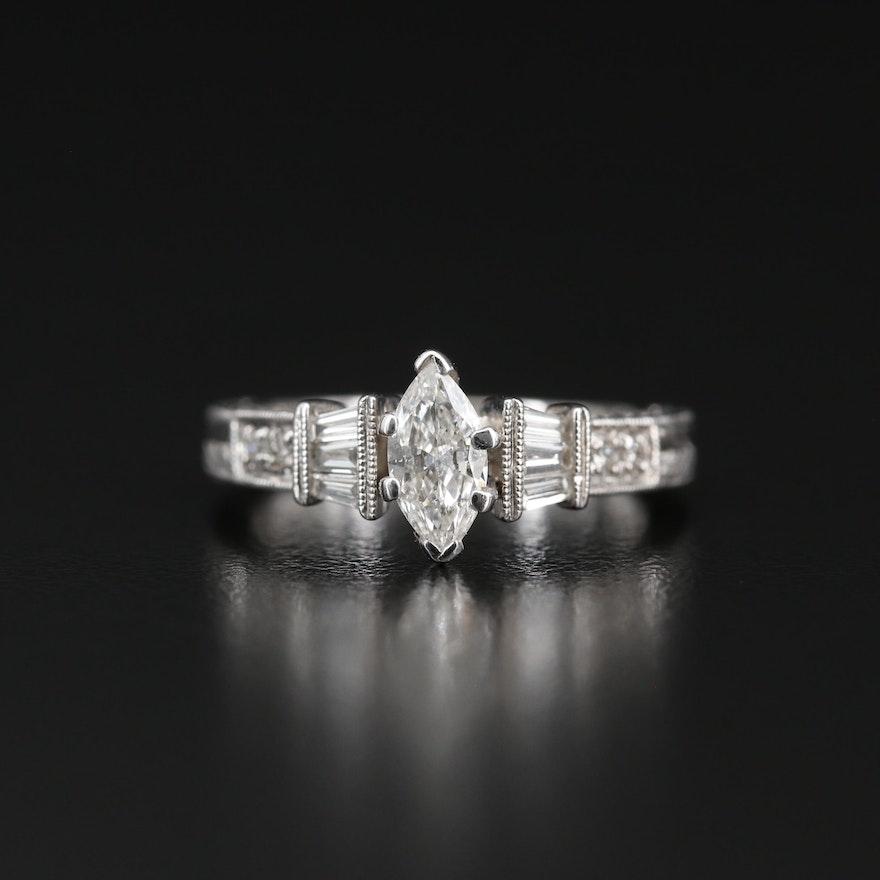 14K Diamond Cathedral Milgrain Ring