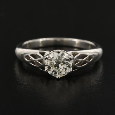 Platinum 0.83 CT Diamond Solitaire Ring with GIA Report