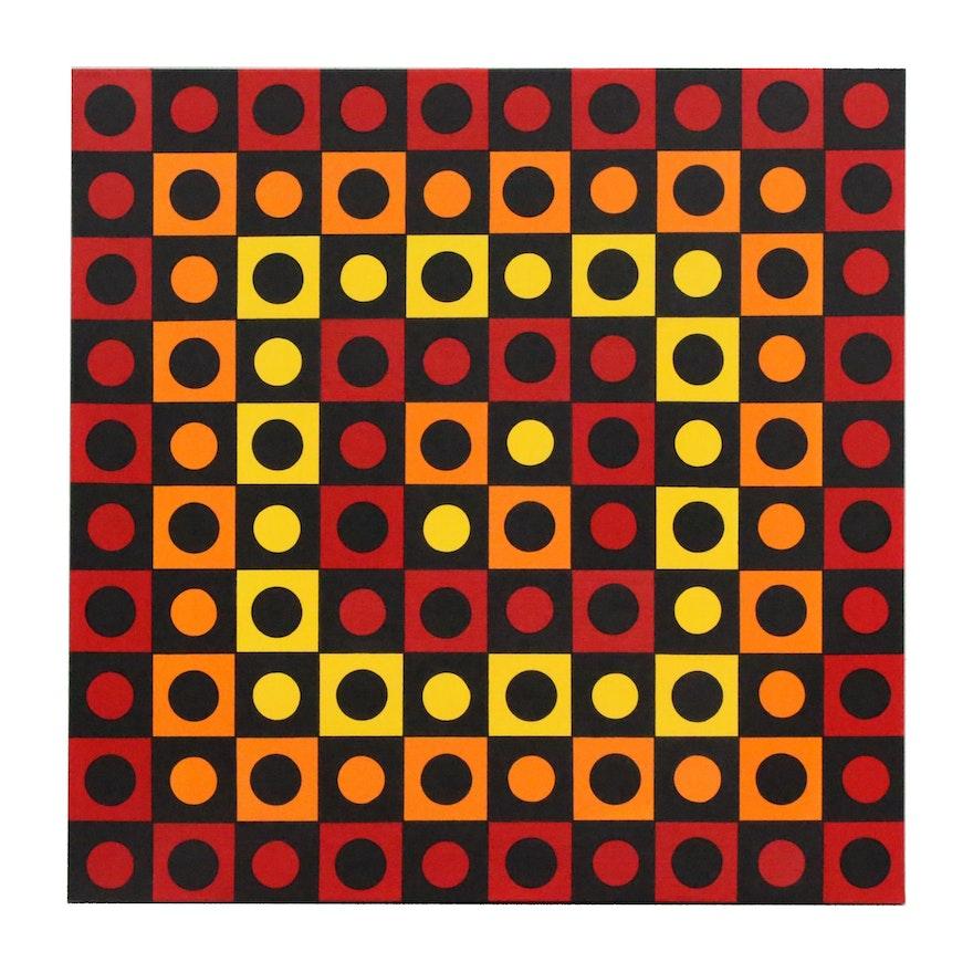 "deSanto Op Art Acrylic Painting ""Symfonia"""