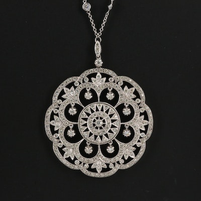 18K 4.50 CTW Diamond Openwork Circular Pendant with Diamond Station Necklace