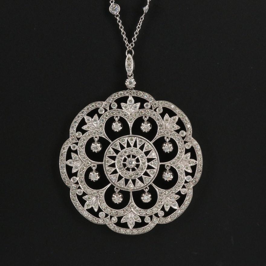 18K 4.50 CTW Diamond Openwork Circular Pendant with Diamond Station Necklace