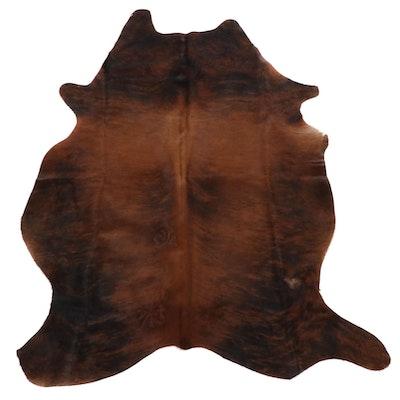 4'6 x 5'10 Brown Brindle Cowhide Throw Rug