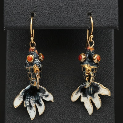 Sterling Enamel Articulated Fish Dangle Earrings
