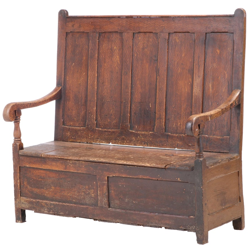 English Painted and Grain-Painted Settle, Late 18th Century