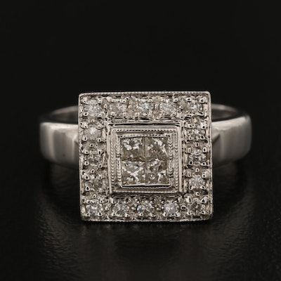 18K White Gold Diamond Square Cluster Ring