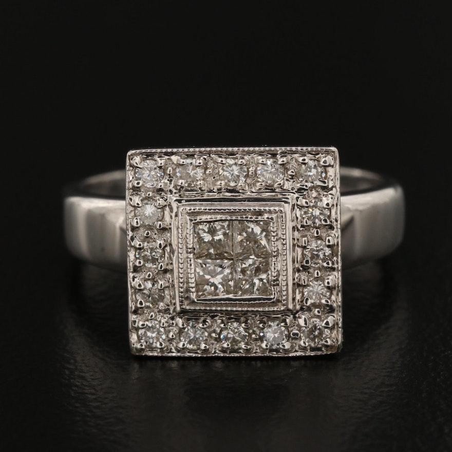 18K Gold Diamond Square Cluster Ring