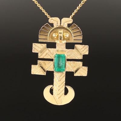 18K Emerald Peruvian Tumi Converter Pendant Necklace
